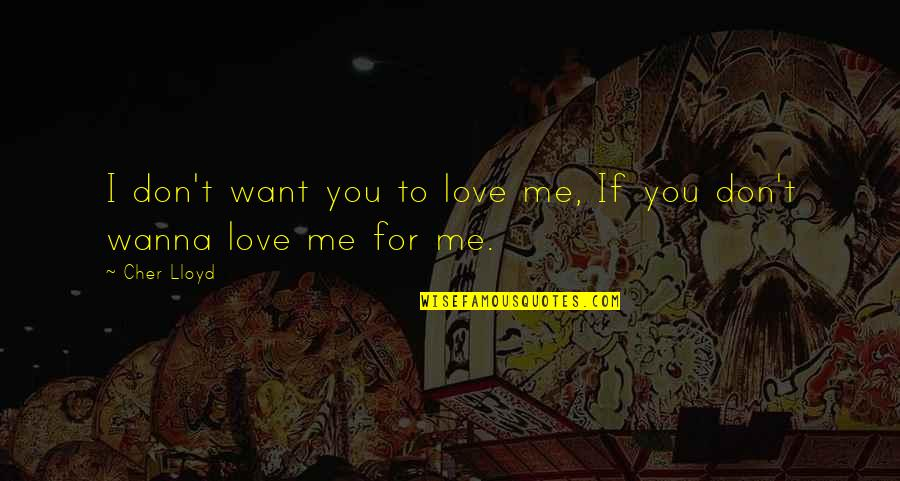Wanna Love You Quotes By Cher Lloyd: I don't want you to love me, If