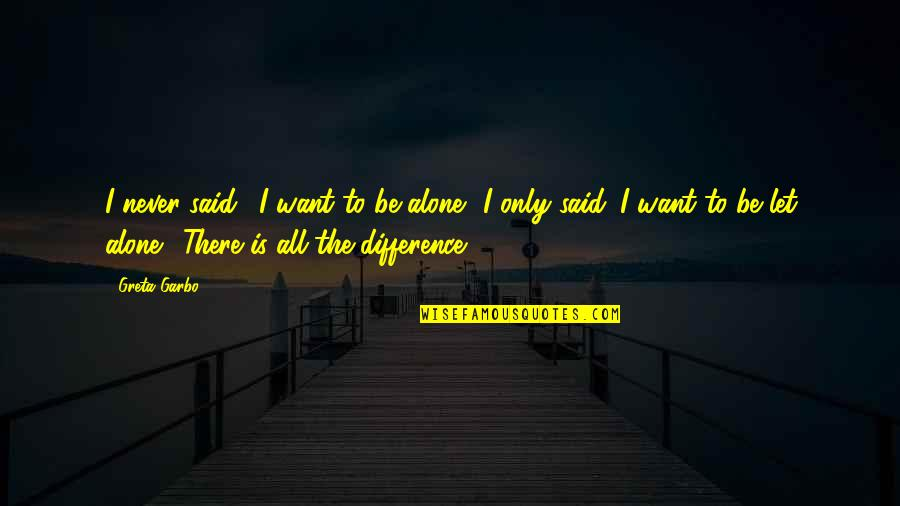 Want To Alone Quotes By Greta Garbo: I never said, 'I want to be alone.'