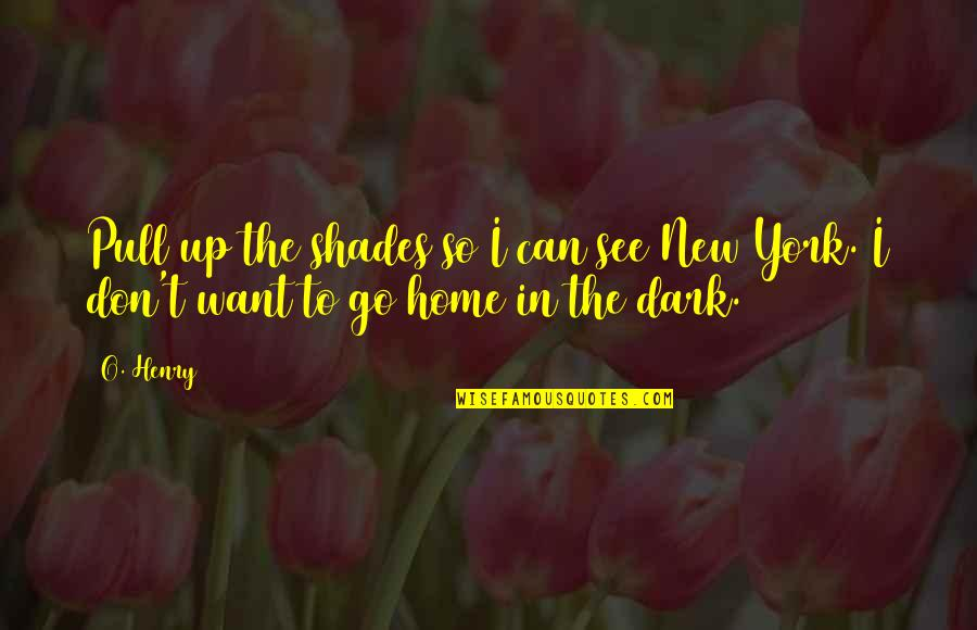 Want To Go Home Quotes By O. Henry: Pull up the shades so I can see