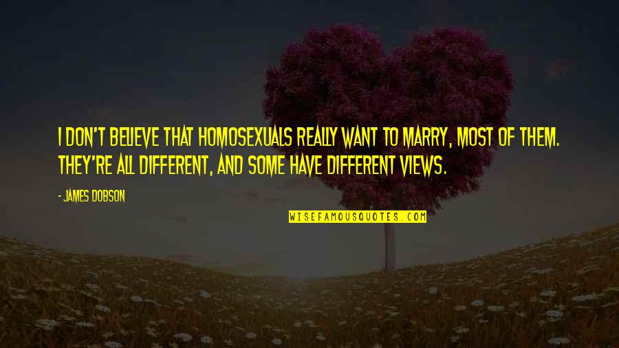 Want To Marry Quotes By James Dobson: I don't believe that homosexuals really want to