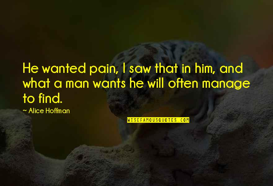 Wanted Man Quotes By Alice Hoffman: He wanted pain, I saw that in him,