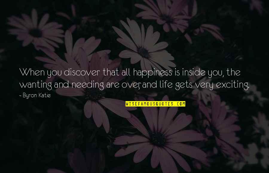 Wanting Happiness Quotes By Byron Katie: When you discover that all happiness is inside