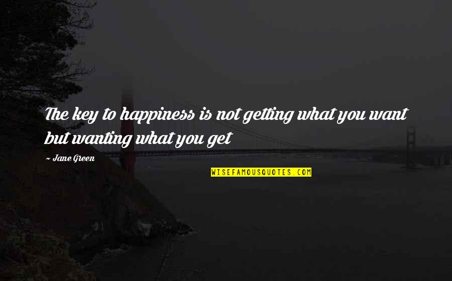 Wanting Happiness Quotes By Jane Green: The key to happiness is not getting what