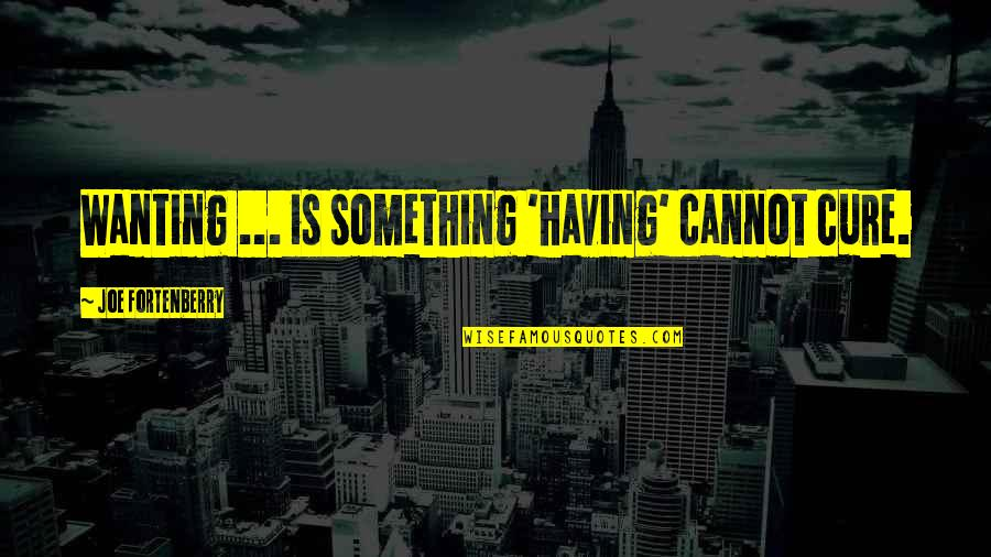 Wanting Happiness Quotes By Joe Fortenberry: Wanting ... is something 'having' cannot cure.