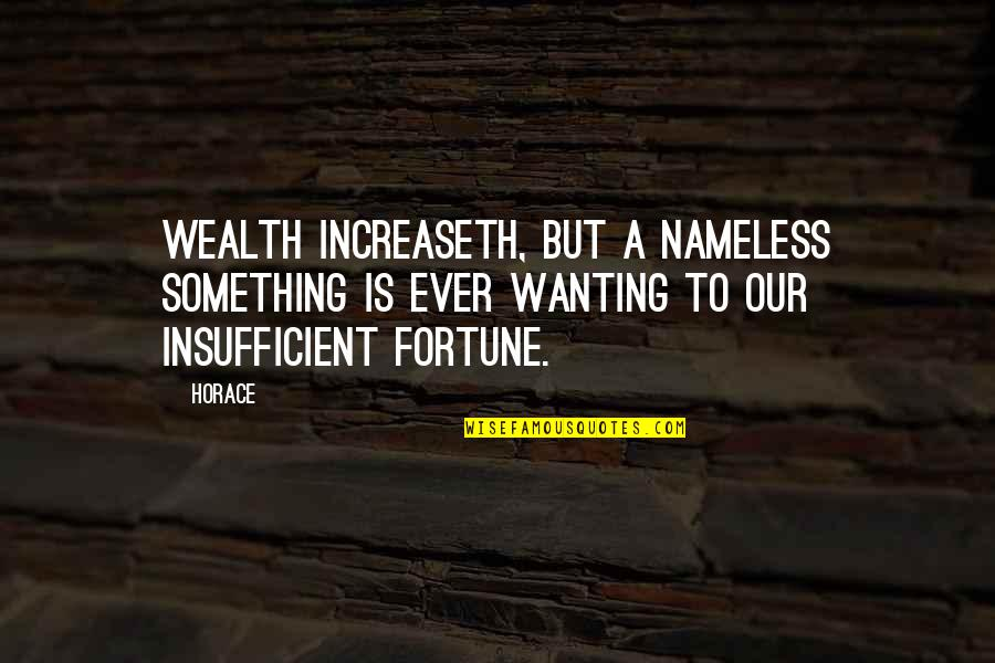 Wanting Something Quotes By Horace: Wealth increaseth, but a nameless something is ever