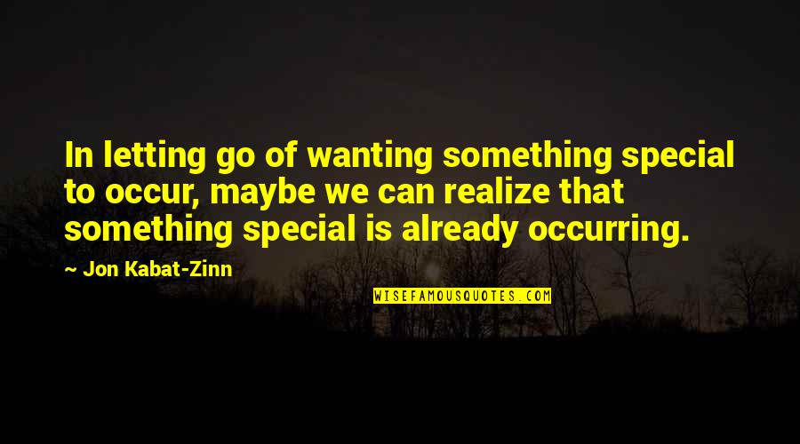 Wanting Something Quotes By Jon Kabat-Zinn: In letting go of wanting something special to