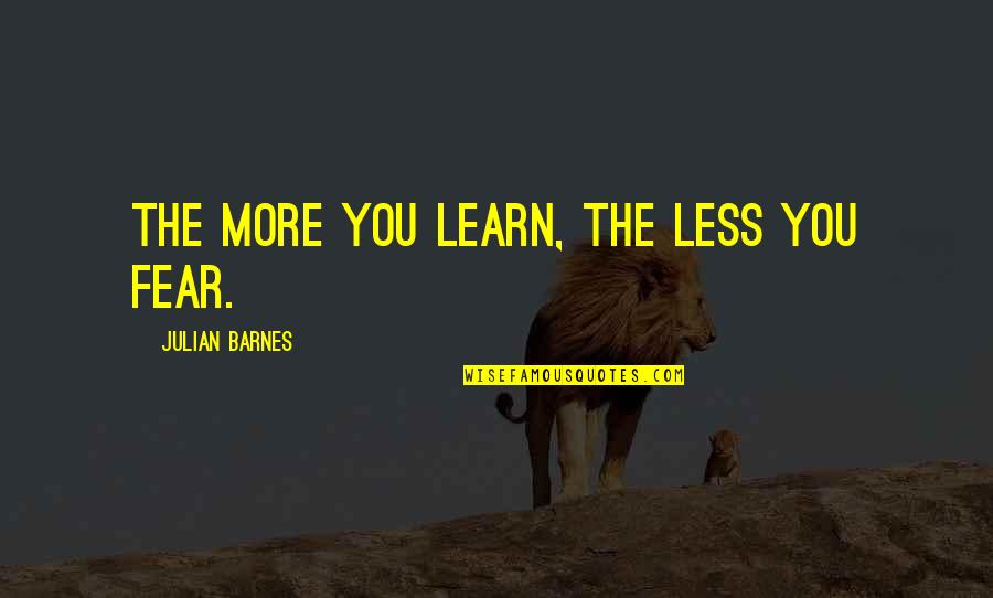 Wanting To Learn Quotes By Julian Barnes: The more you learn, the less you fear.