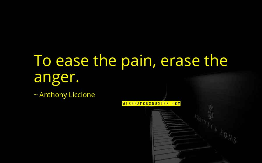 Wanting You To Be Mine Quotes By Anthony Liccione: To ease the pain, erase the anger.