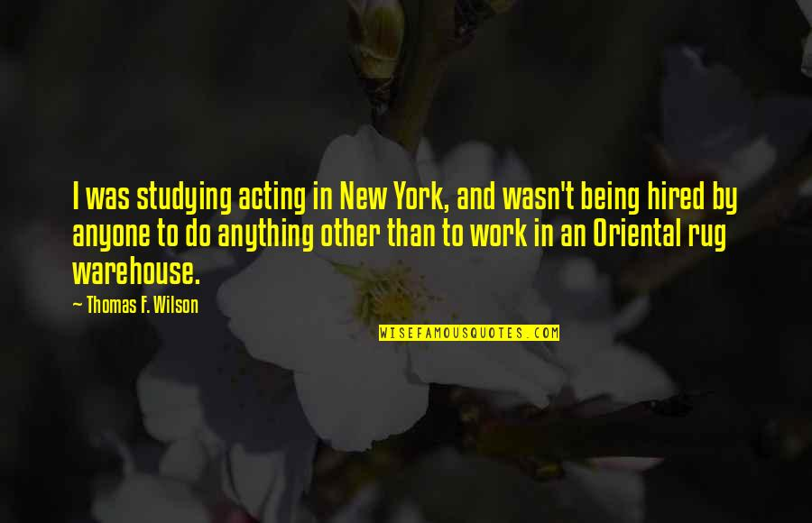 Warehouse Work Quotes By Thomas F. Wilson: I was studying acting in New York, and
