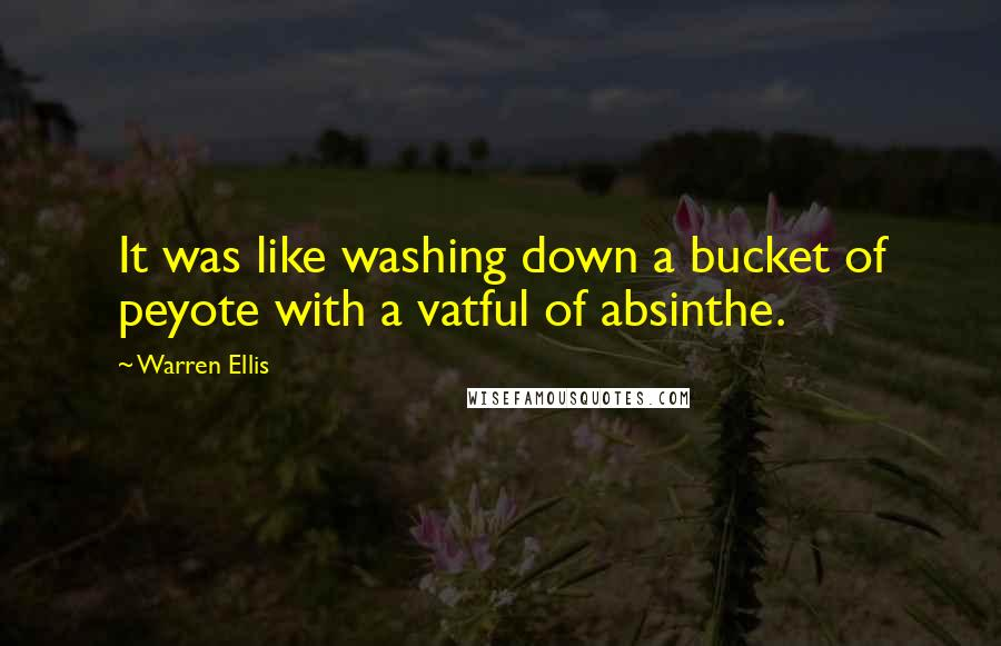 Warren Ellis quotes: It was like washing down a bucket of peyote with a vatful of absinthe.