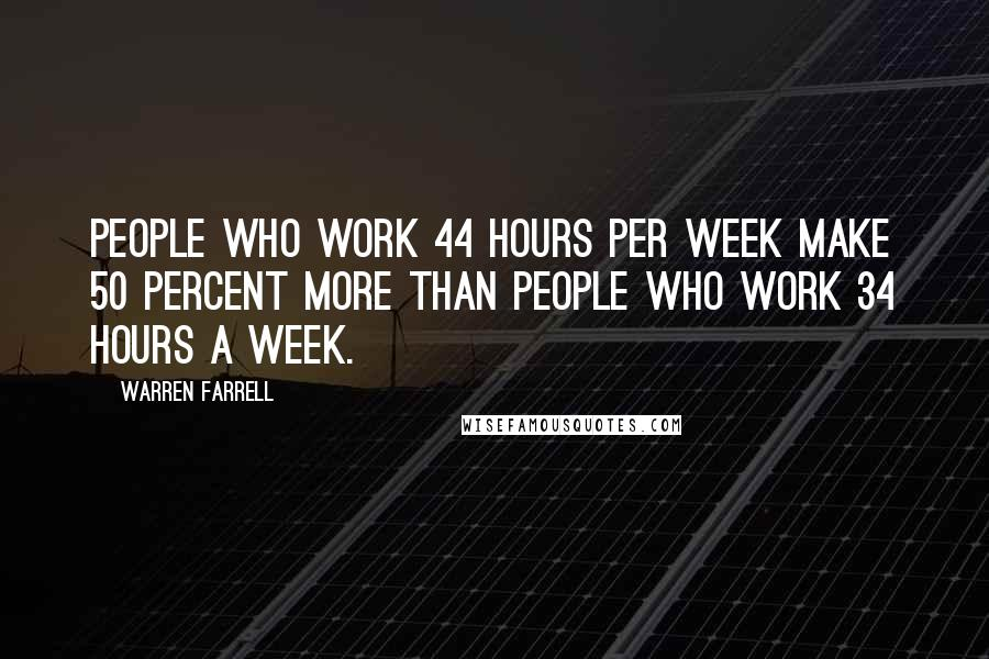 Warren Farrell quotes: People who work 44 hours per week make 50 percent more than people who work 34 hours a week.