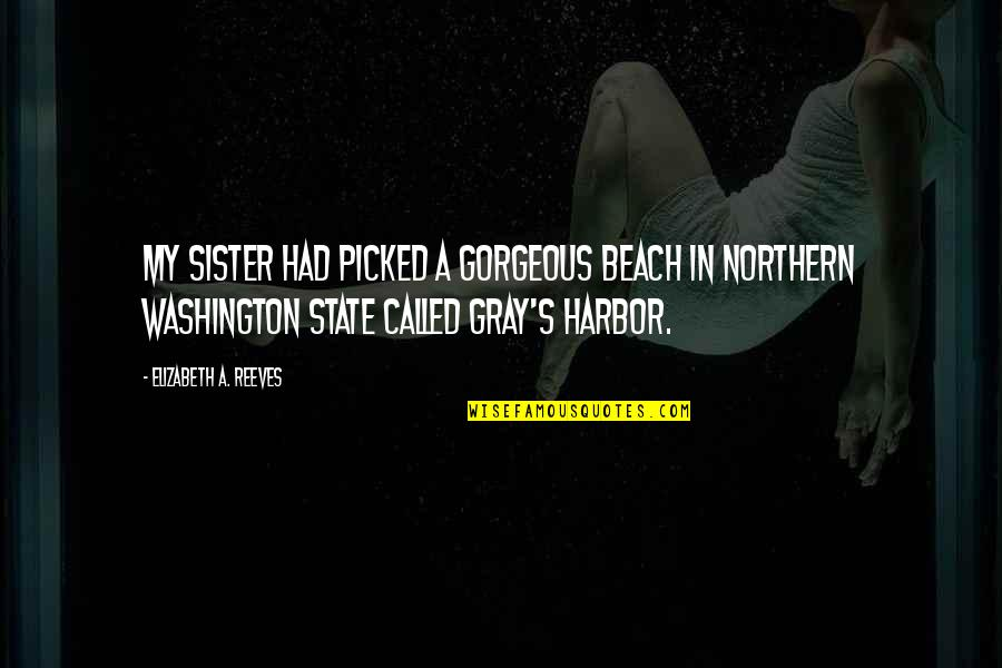 Washington State Quotes By Elizabeth A. Reeves: My sister had picked a gorgeous beach in