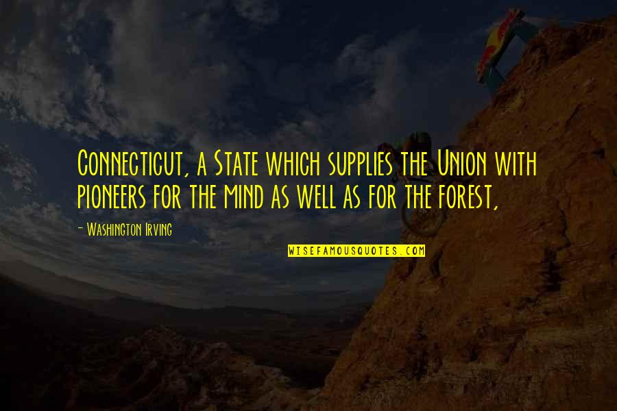 Washington State Quotes By Washington Irving: Connecticut, a State which supplies the Union with