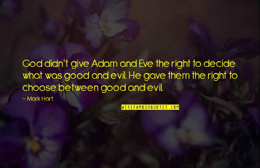 Was'nt Quotes By Mark Hart: God didn't give Adam and Eve the right