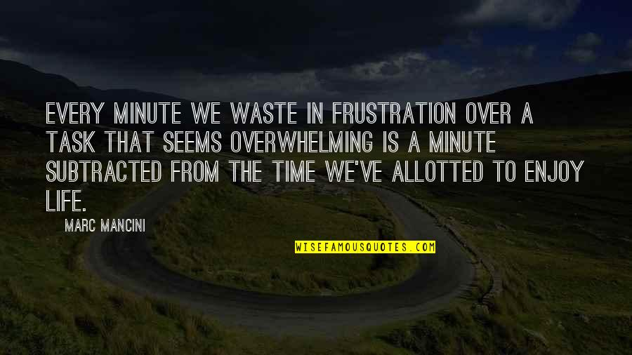 Waste Management Quotes By Marc Mancini: Every minute we waste in frustration over a