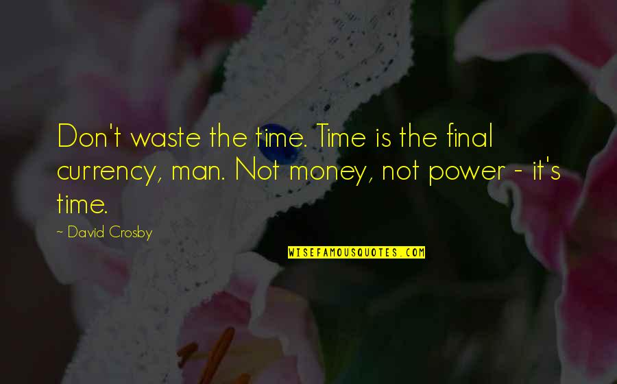 Waste Of Time And Money Quotes By David Crosby: Don't waste the time. Time is the final
