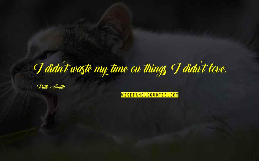 Wasting Time With Love Quotes By Patti Smith: I didn't waste my time on things I