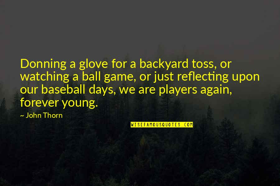 Watching Baseball Quotes By John Thorn: Donning a glove for a backyard toss, or