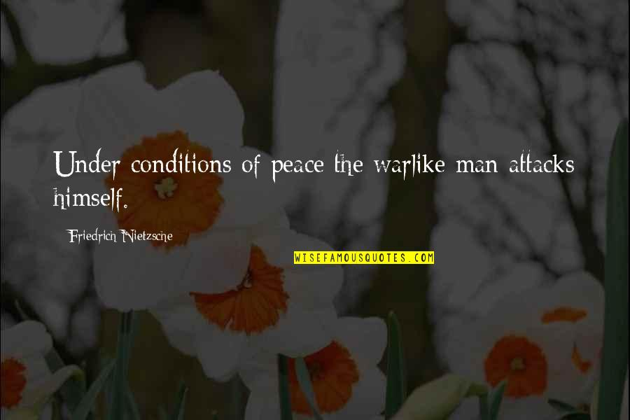 Water Bottle Pollution Quotes By Friedrich Nietzsche: Under conditions of peace the warlike man attacks