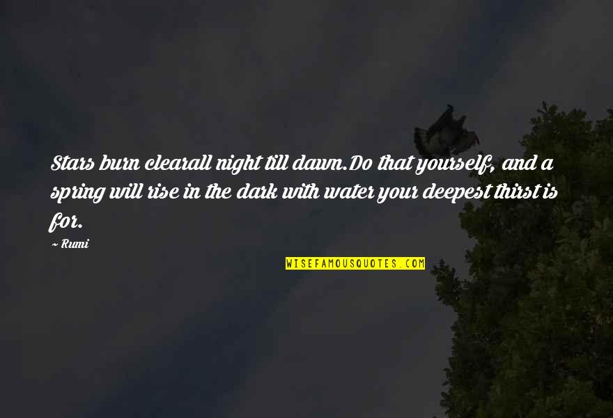 Water Thirst Quotes By Rumi: Stars burn clearall night till dawn.Do that yourself,