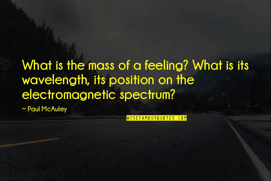 Wavelength Quotes By Paul McAuley: What is the mass of a feeling? What