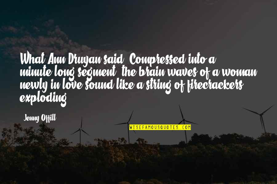 Waves And Love Quotes By Jenny Offill: What Ann Druyan said: Compressed into a minute-long