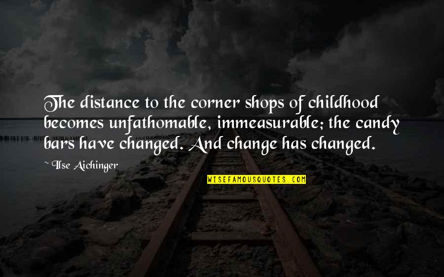 Waves Bible Quotes By Ilse Aichinger: The distance to the corner shops of childhood