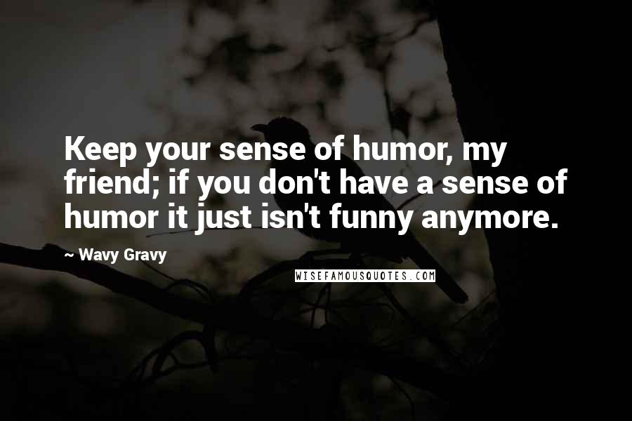 Wavy Gravy quotes: Keep your sense of humor, my friend; if you don't have a sense of humor it just isn't funny anymore.