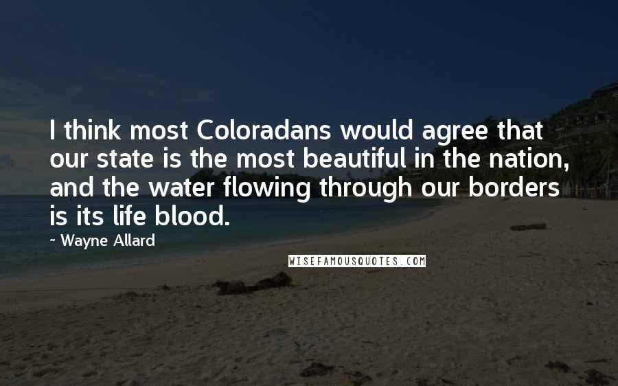 Wayne Allard quotes: I think most Coloradans would agree that our state is the most beautiful in the nation, and the water flowing through our borders is its life blood.