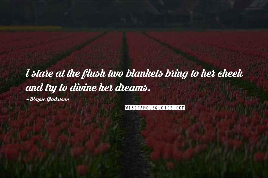 Wayne Gladstone quotes: I stare at the flush two blankets bring to her cheek and try to divine her dreams.