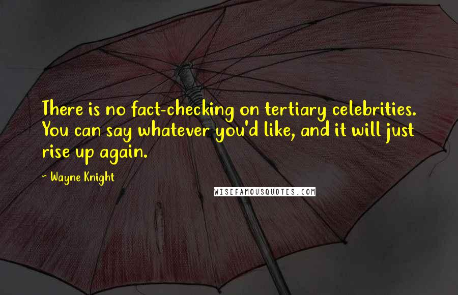 Wayne Knight quotes: There is no fact-checking on tertiary celebrities. You can say whatever you'd like, and it will just rise up again.