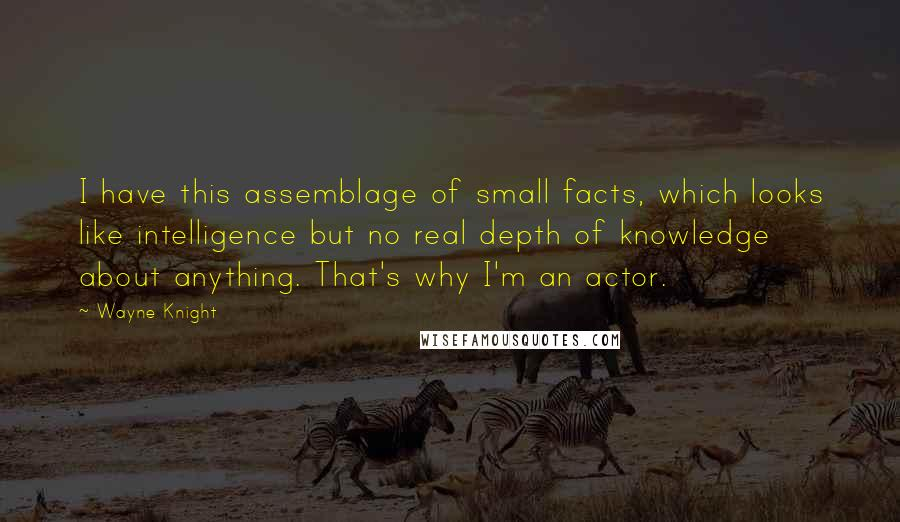 Wayne Knight quotes: I have this assemblage of small facts, which looks like intelligence but no real depth of knowledge about anything. That's why I'm an actor.