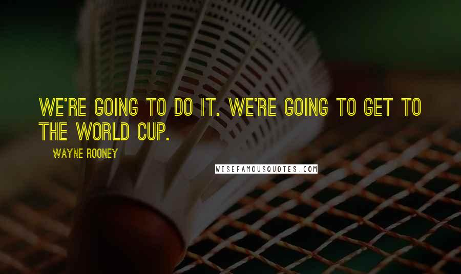 Wayne Rooney quotes: We're going to do it. We're going to get to the World Cup.