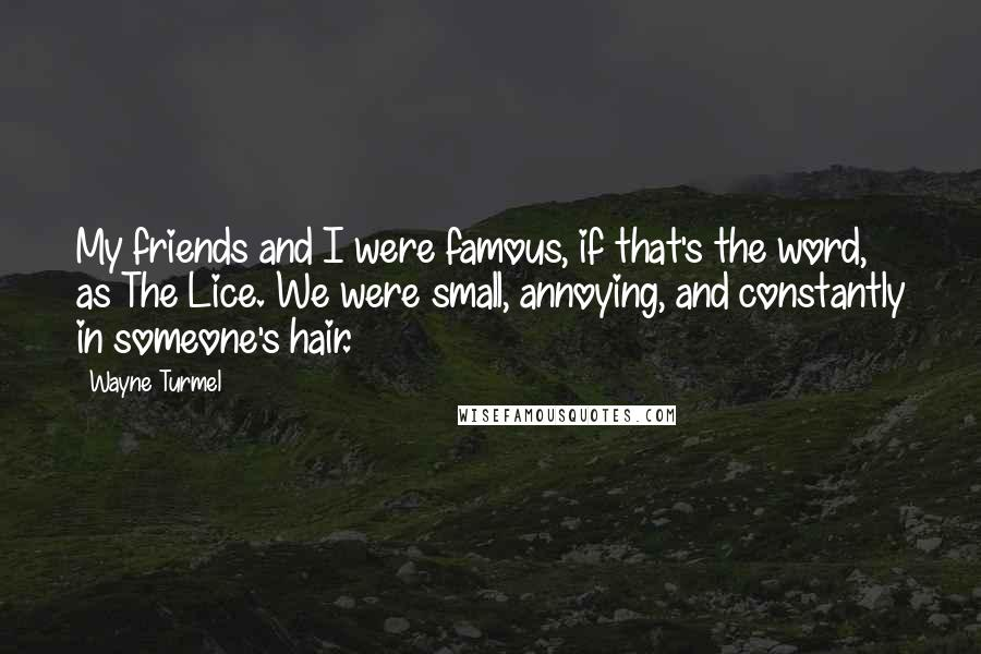 Wayne Turmel quotes: My friends and I were famous, if that's the word, as The Lice. We were small, annoying, and constantly in someone's hair.