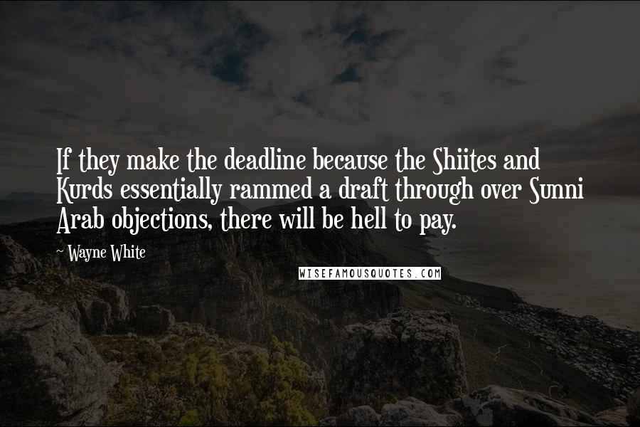 Wayne White quotes: If they make the deadline because the Shiites and Kurds essentially rammed a draft through over Sunni Arab objections, there will be hell to pay.