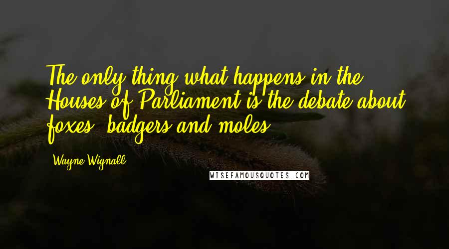 Wayne Wignall quotes: The only thing what happens in the Houses of Parliament is the debate about foxes, badgers and moles