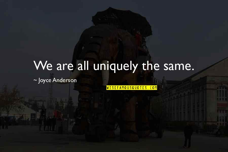 We All Are Same Quotes By Joyce Anderson: We are all uniquely the same.