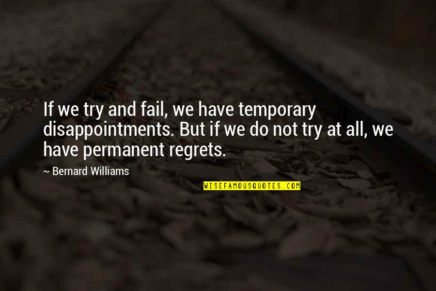 We All Have Regrets Quotes By Bernard Williams: If we try and fail, we have temporary