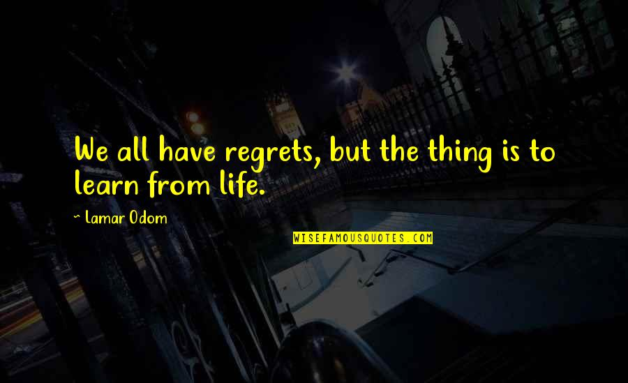 We All Have Regrets Quotes By Lamar Odom: We all have regrets, but the thing is