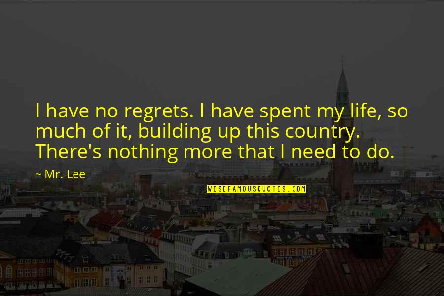 We All Have Regrets Quotes By Mr. Lee: I have no regrets. I have spent my