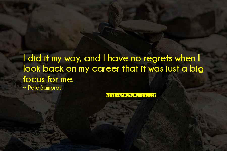 We All Have Regrets Quotes By Pete Sampras: I did it my way, and I have