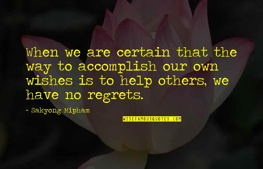We All Have Regrets Quotes By Sakyong Mipham: When we are certain that the way to