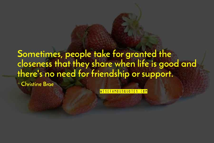 We All Need Support Quotes By Christine Brae: Sometimes, people take for granted the closeness that