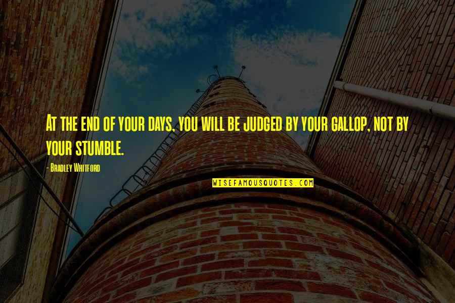 We All Stumble Quotes By Bradley Whitford: At the end of your days, you will