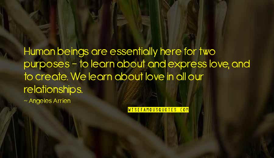 We Are All Human Quotes By Angeles Arrien: Human beings are essentially here for two purposes