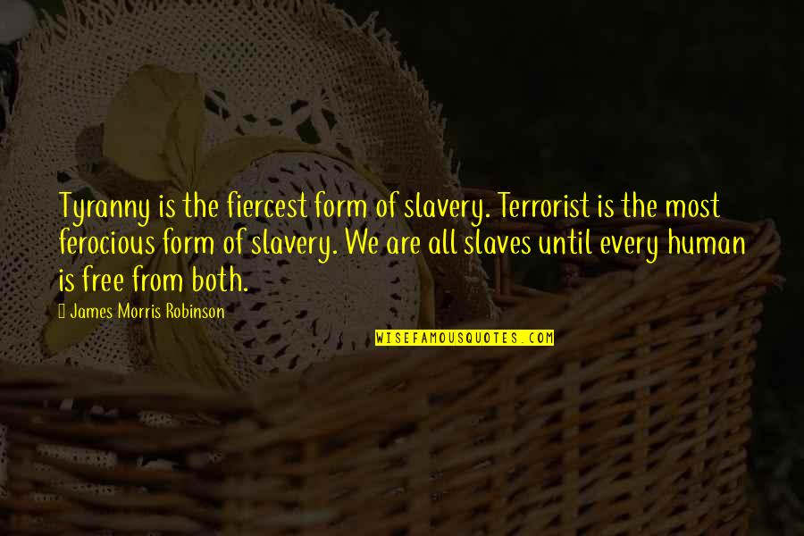 We Are All Human Quotes By James Morris Robinson: Tyranny is the fiercest form of slavery. Terrorist