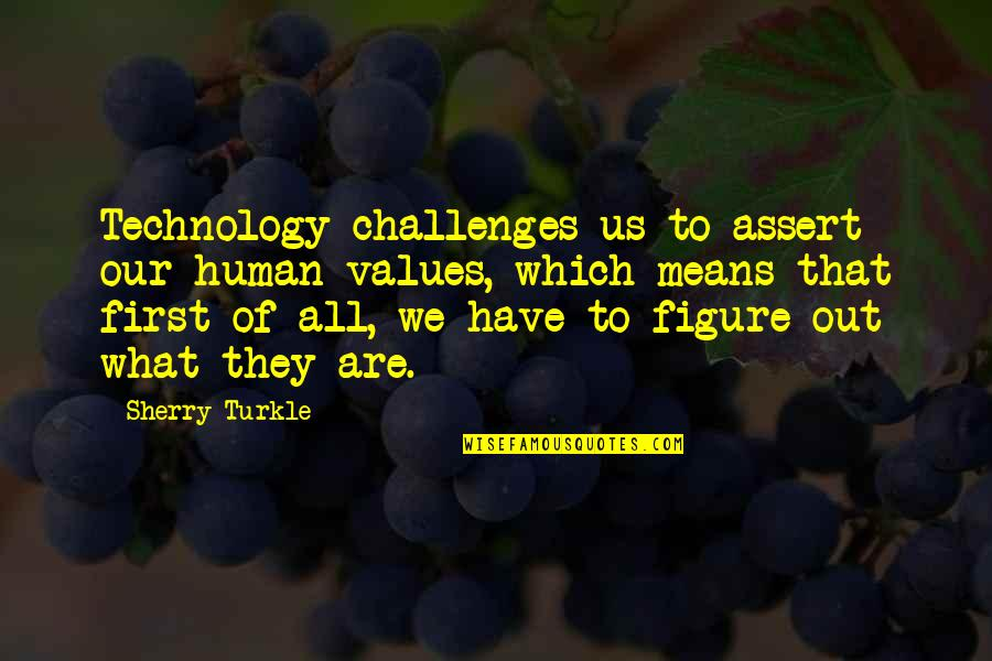 We Are All Human Quotes By Sherry Turkle: Technology challenges us to assert our human values,