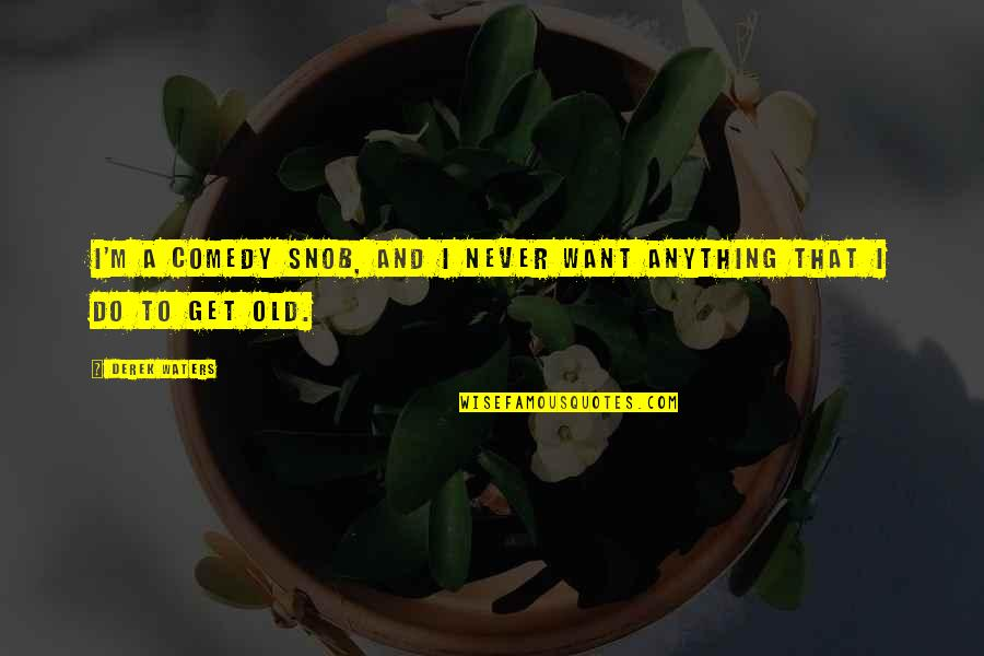 We Are Never Too Old Quotes By Derek Waters: I'm a comedy snob, and I never want