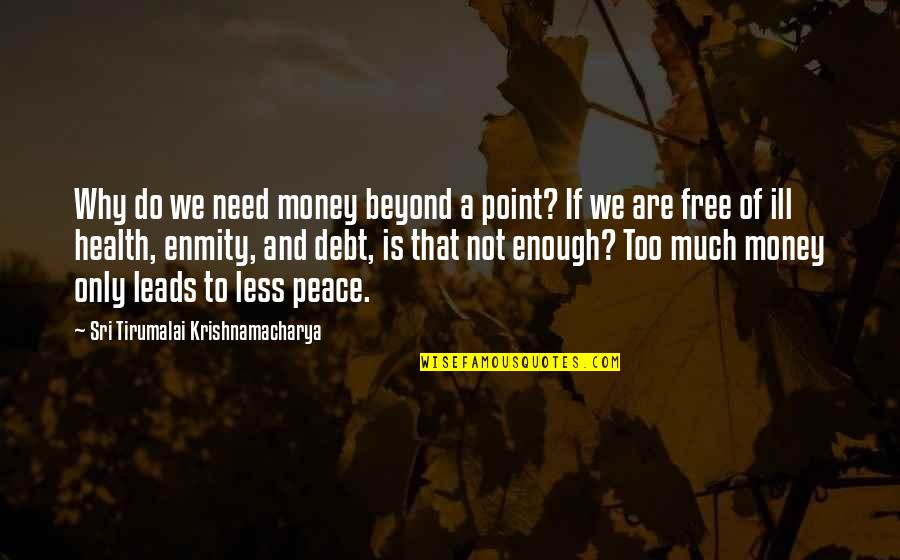 We Are Not Free Quotes By Sri Tirumalai Krishnamacharya: Why do we need money beyond a point?