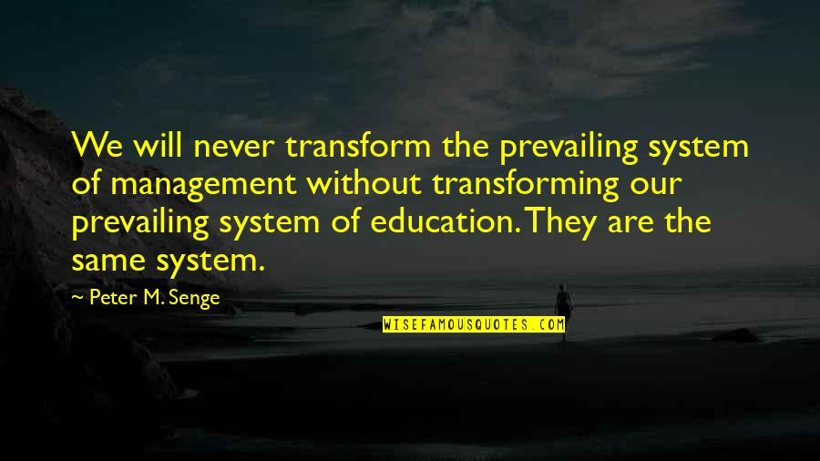 We Are The Same Quotes By Peter M. Senge: We will never transform the prevailing system of
